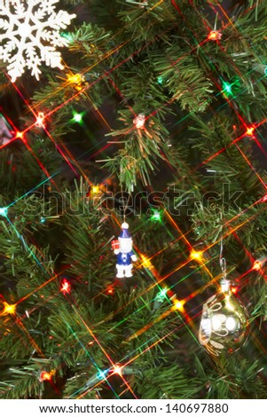 Close up image of lighted Christmas tree - stock photo