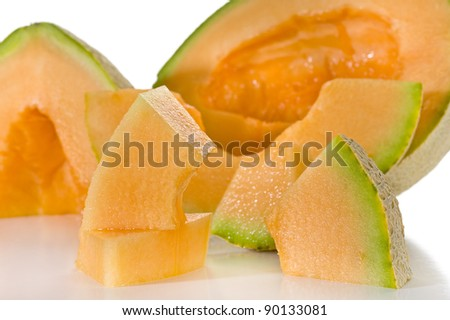 Close-up image of melon studio isolated on white background