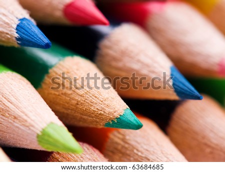 Close-up image of multicolor pencils background - stock photo