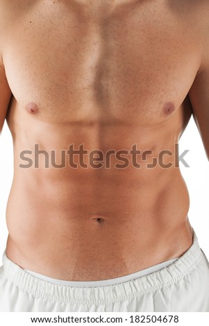 close up image of muscular perfect naked male torso and six pack belly.Isolation on white. - stock photo