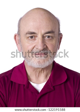 Close up image of old man face against white background - stock photo