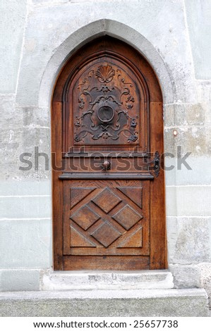 Close-up image of old wooden door