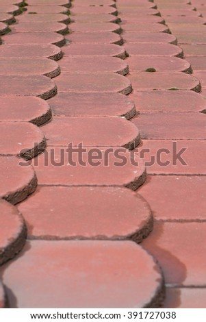Close-up image of red wet brick roof tiles - stock photo