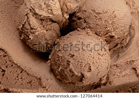 Close up image of scoops of chocolate ice cream - stock photo