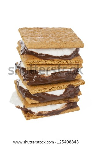 Close up image of smore against white background