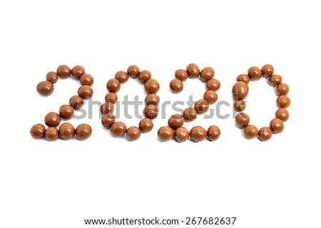 Close-up image 2020 of sweet chocolate round on a white background