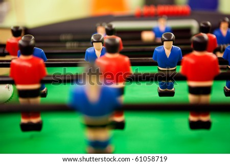 close up image of table football - stock photo