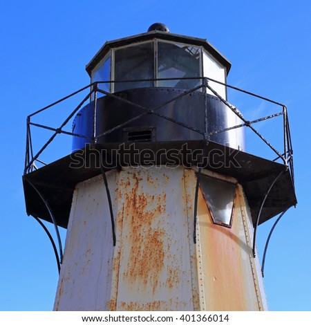 Close-up image of the apex of Fort Point Lighthouse in San Francisco, California. - stock photo