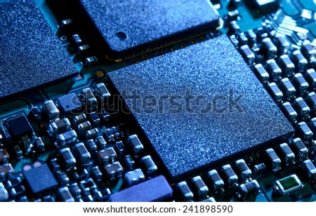 Close up Image of the Electronic Circuit Board with Processor - stock photo