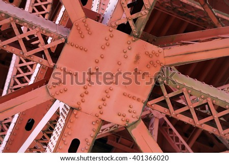 Close-up image of the steel girders forming the underside of the Golden Gate Bridge. - stock photo