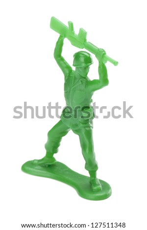 Close up image of toy soldier isolated on white background - stock photo
