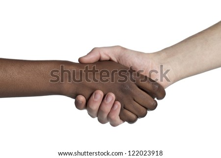 Close-up image of two people with handshake isolated on a white background