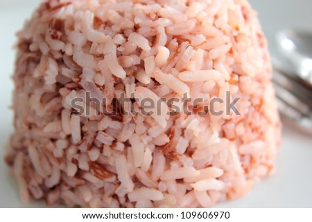close up in the  brown rice cooked - stock photo