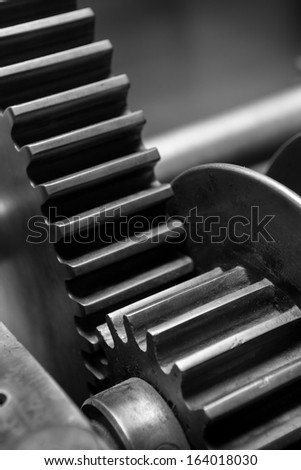 Close up Industry Gear Machine Cog Background, business cooperation, teamwork and time concept  - stock photo