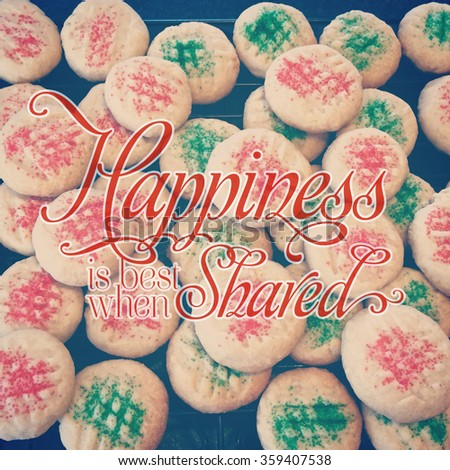 close-up instagram of shortbread cookies with typography - stock photo