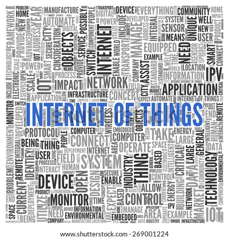 Close up INTERNET OF THINGS Text at the Center of Word Tag Cloud on White Background. - stock photo