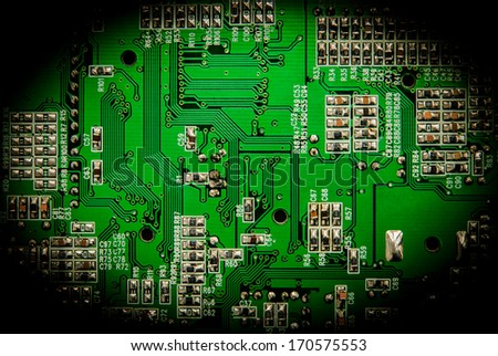 Close up is on detail pattern green circuit is background