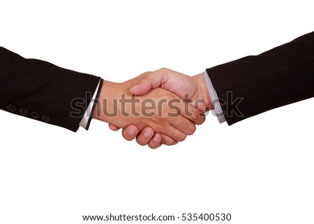 Close up Isolate Businessman Handshake On White Background