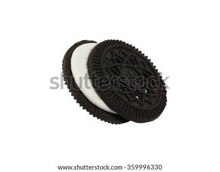 Close up isolated sandwhich cookie against white background - stock photo