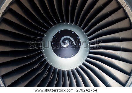 close up Jet engine front view - stock photo