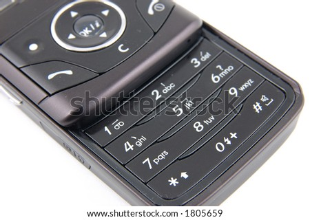 Close up keypad of a black mobile phone