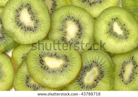 Close up kiwi slices - stock photo