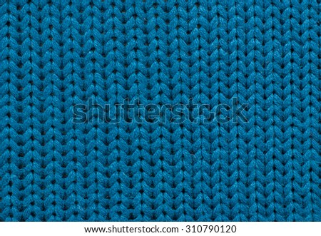 Close up Knitting Background Blue Color, natural yarn - stock photo
