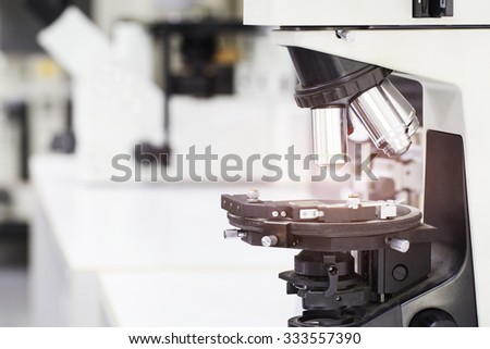 close up laboratory microscope, science and research concept - stock photo