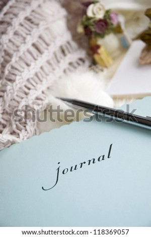 close up lady's journal in romance room