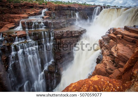 Close up landscape image of Eastern side drop of the King George Falls in the remote north Kimberley of Western Australia, only accessible by boat of Helicopter.