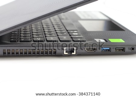 Close-up laptop on white background - stock photo