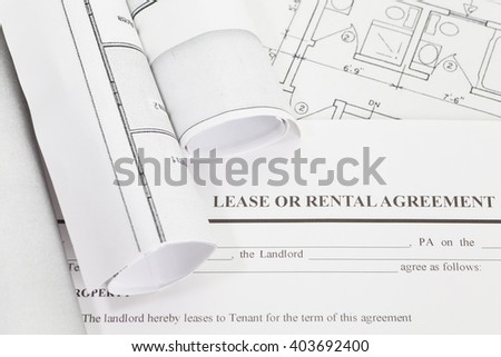 Close - up Lease or rental agreement form - stock photo