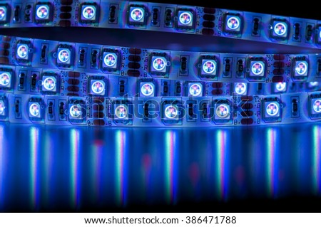 close up led rgb lights, blue color - stock photo
