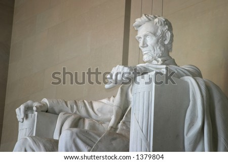 Close-up Left Side View of Lincoln Memorial - stock photo