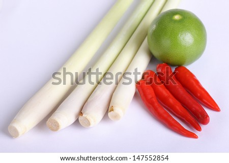 Close up Lemon grass  with lemon and red pepper