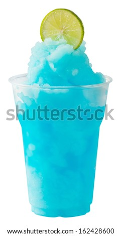 Close up Lime Blue Curacao smoothie in plastic cup isolated on white - with path - stock photo