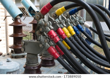 close up line output junction transformer - stock photo