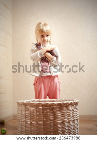 Close up Little Female Blond Kid Holding a Sphynx Kitten Behind the Basket. - stock photo