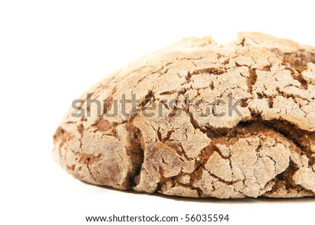 close-up loaf of hot whole rye homemade bread just out of oven and isolated on white background - stock photo