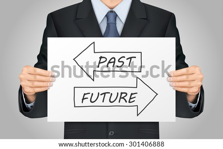 close-up look at businessman holding time concept  poster - stock photo