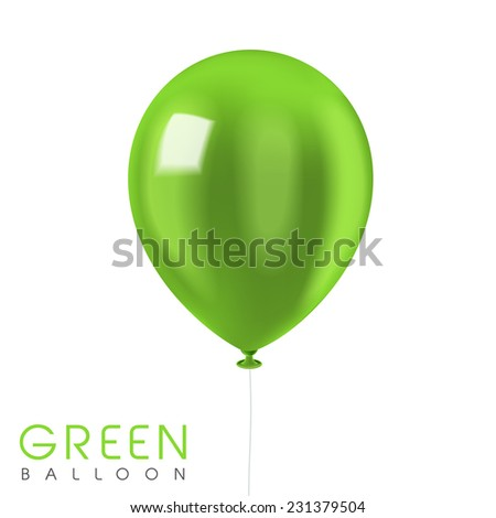 close up look at green balloon isolated on white - stock photo