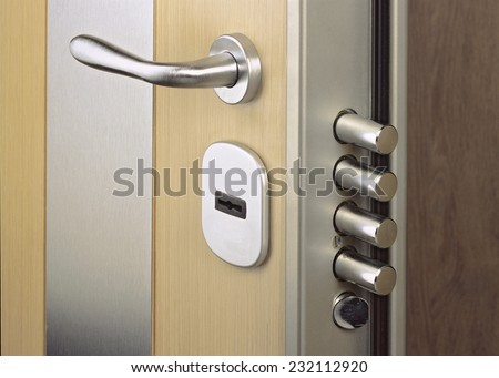 Close-up look at home door high security lock