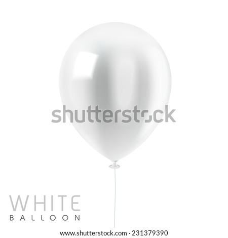 close up look at white balloon isolated on white - stock photo