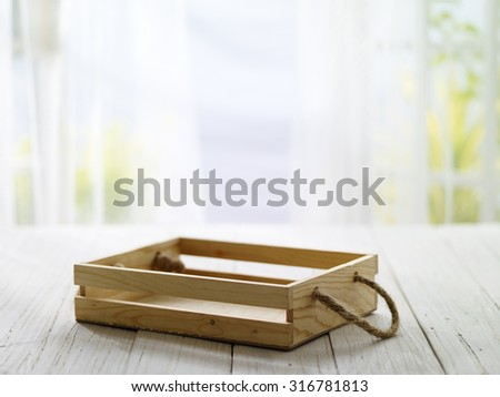 close-up look at wooden box with morning bright