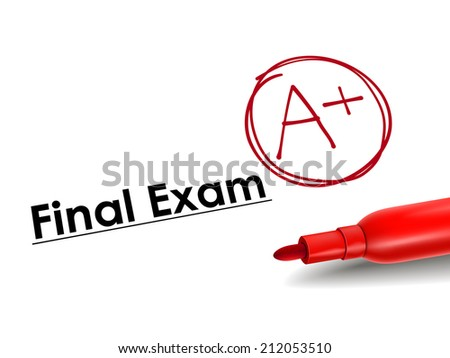 close-up look of A plus grade over final exam paper - stock photo