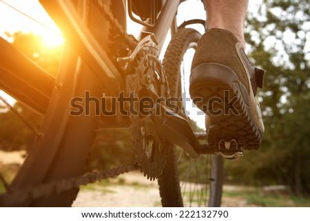 Close up low angle rear view man peddling bike - stock photo