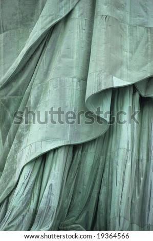 Close-up, lower section of Statue of Liberty's robe on Liberty Island, New York City, USA