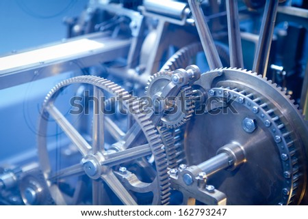 Close up Machine Gear cog, Business Teamwork