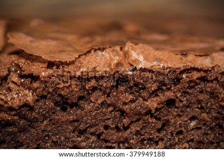 Close up, Macro Details Shot of Delicious Brownies. Fresh Baked from Oven, Sliced. Homemade Bakery, Pastry and Dessert. Background and Textures. Selective. - stock photo