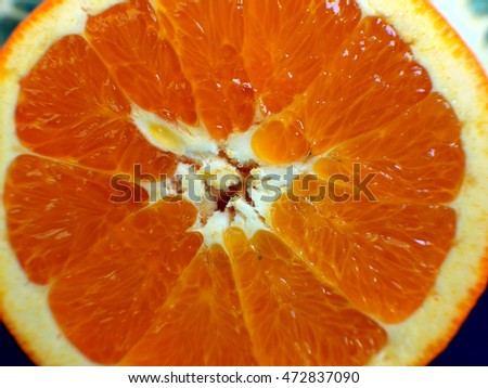 Close Up Macro of Cut Orange Half